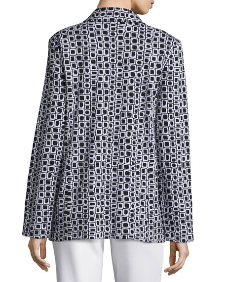 Geometric Jacquard Interlock Jacket, Plus Size