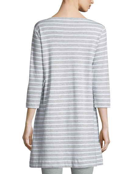 Striped Interlock Tunic, Gray/White
