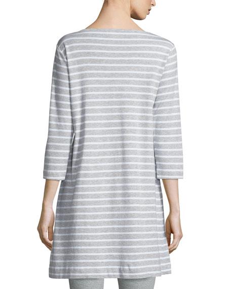 Striped Interlock Tunic, Gray/White