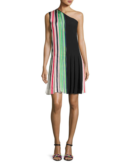 Diane von Furstenberg One-Shoulder Pleated Ribbon Dress,