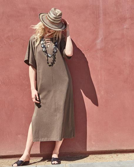 Long Dolman Sleeve Dress w/ Lattice Detail, Plus Size