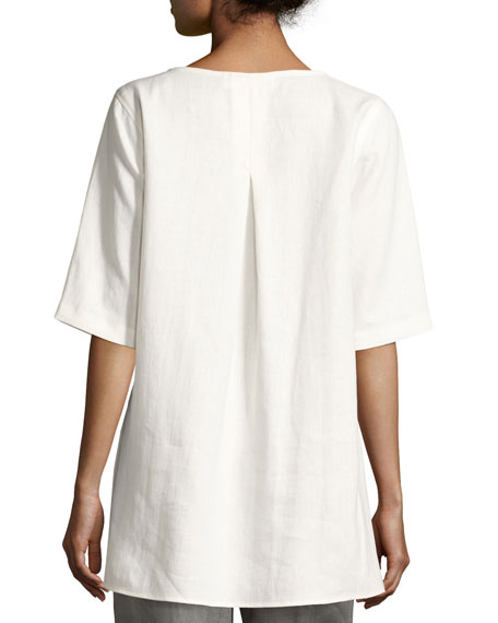 Half-Sleeve Two-Pocket Linen Tunic