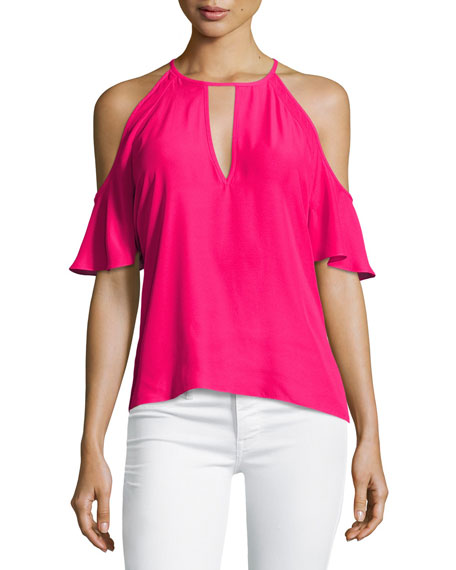 Amanda Uprichard Celia Cold-Shoulder Keyhole Top, Pink