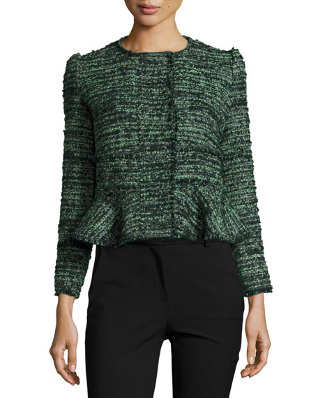 Rebecca Taylor Textured Tweed Peplum Jacket, Green/Black