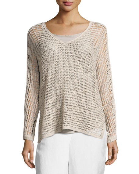 NIC+ZOE Sun Catcher Long-Sleeve Open-Weave Top, Light Beige