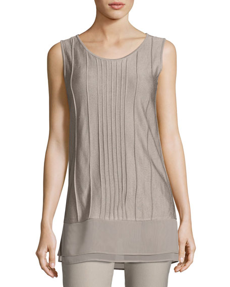 Textured Chiffon-Trim Tank, Light Beige, Plus Size