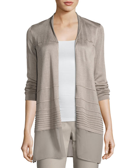 NIC+ZOE Textured Chiffon-Trim Cardigan, Light Beige, Plus Size