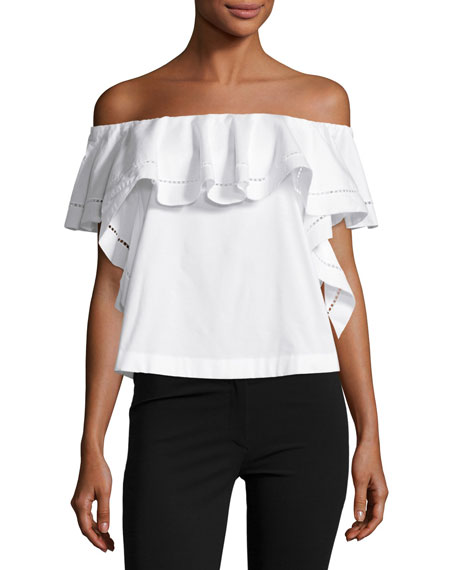 Rachel Zoe Leanna Off-the-Shoulder Ruffle Top, Ecru