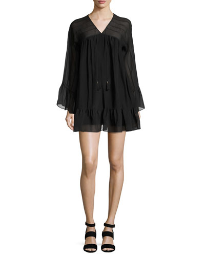 Anita Bell-Sleeve Silk Mini Dress, Black