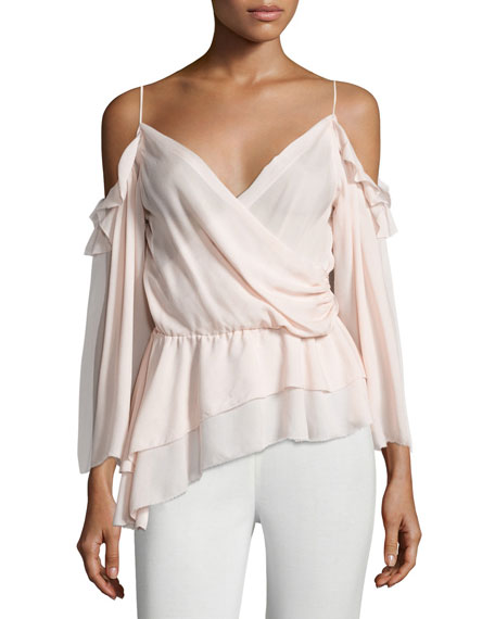 Rachel Zoe Renee Cold-Shoulder Silk Surplice Top, Petal