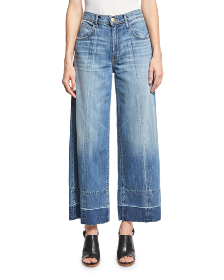 Current/Elliott The Wide Leg Crop Jeans w/Released Hem,