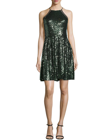 Badgley Mischka Halter-Neck Embellished Cocktail Dress, Emerald