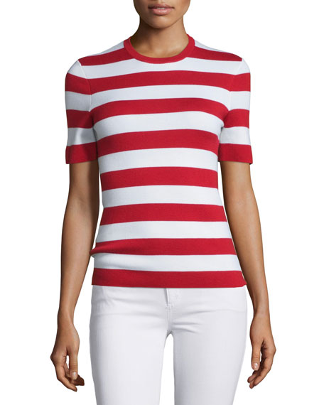 Michael Kors Collection Short-Sleeve Striped Cashmere Top,
