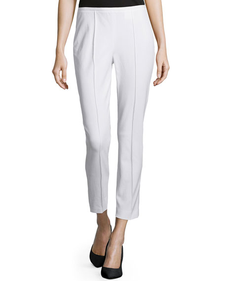 Michael Kors Side-Zip Cropped Pants, Optic White