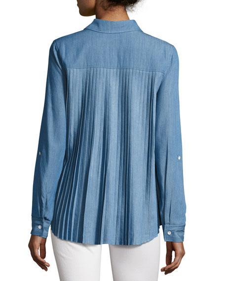 Kris Denim Accordion-Pleated Shirt, Blue