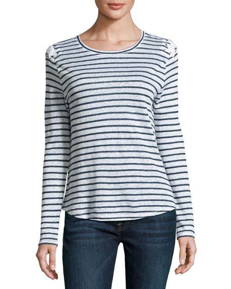 Generation Love Patti Striped Lace-Up Long-Sleeve Linen Tee,