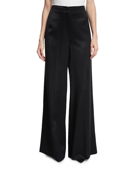Wide-Leg Satin Evening Pants, Black