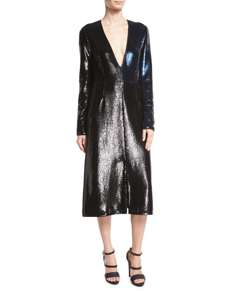 Diane von Furstenberg Sequined Long-Sleeve V-Neck Midi Dress,