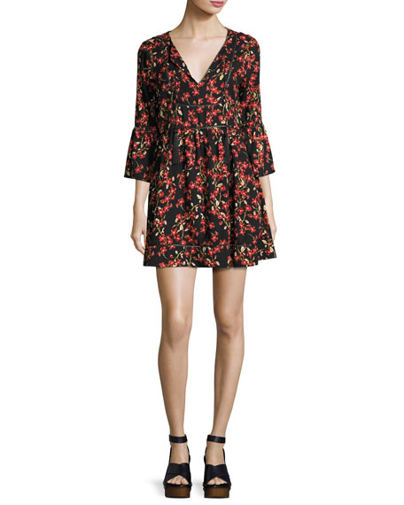 Alita Floral Bell-Sleeve Mini Dress, Black