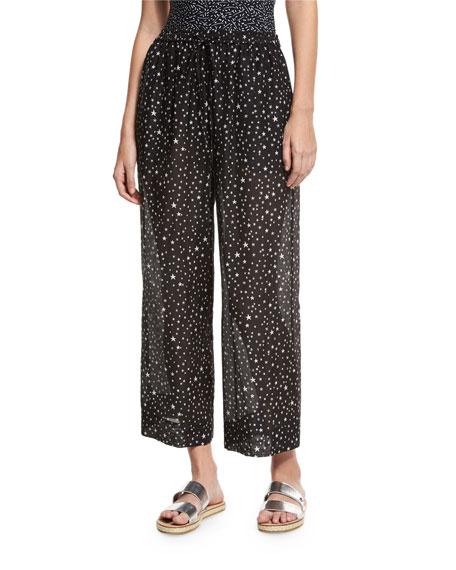 Diane von Furstenberg Star-Print Voile Beach Culottes, Black