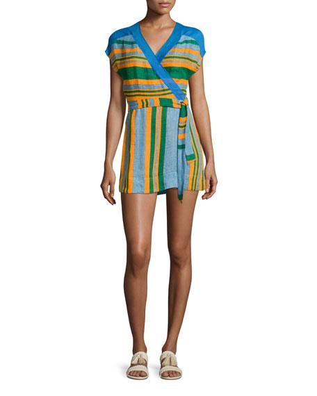 Diane von Furstenberg Striped Wrap Mini Dress, Blue/Orange/Green