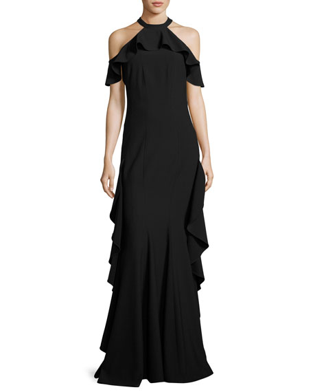 Esmerelda Cold-Shoulder Ruffle Gown, Black