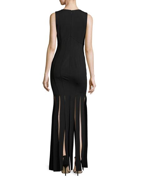 Melody Sleeveless Ponte Column Gown, Black