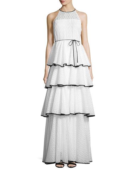 Alexandria Sleeveless Tiered Chevron Gown, White