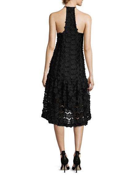 Sinead Sleeveless 3D Floral Cocktail Dress, Black