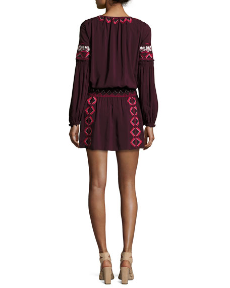Maeve Embroidered Blouson Dress, Plumwine