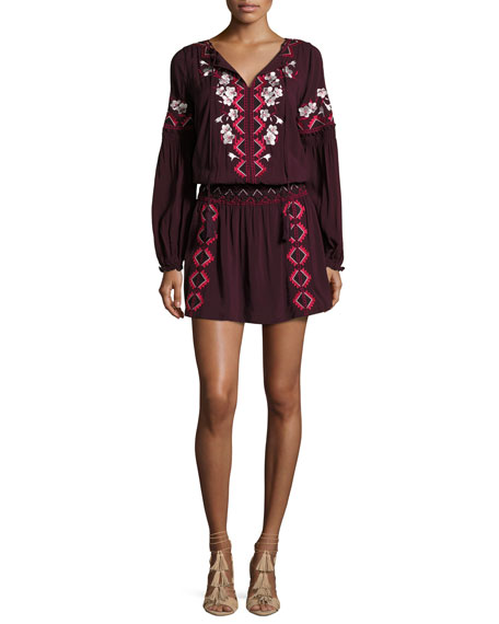 Maeve Embroidered Blouson Dress, Plumwine