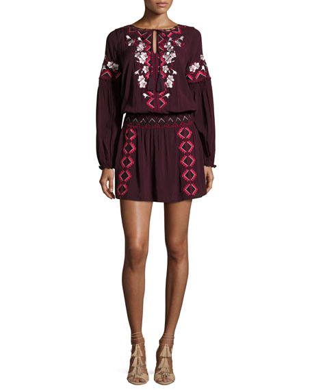 Parker Maeve Embroidered Blouson Dress, Plumwine