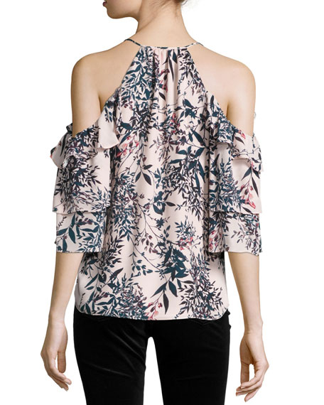 Cindy Floral-Print Cold-Shoulder Silk Top, Privett