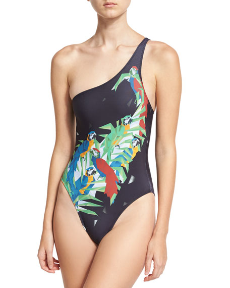 Mio One-Shoulder Printed One-Piece Swimsuit, Black