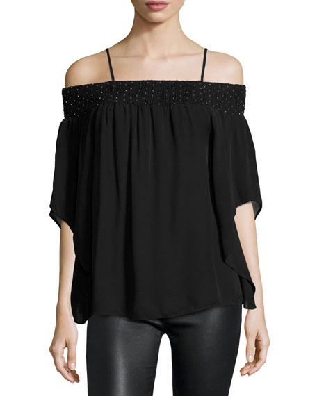 Meilani Embellished Off-the-Shoulder Silk Blouse, Black