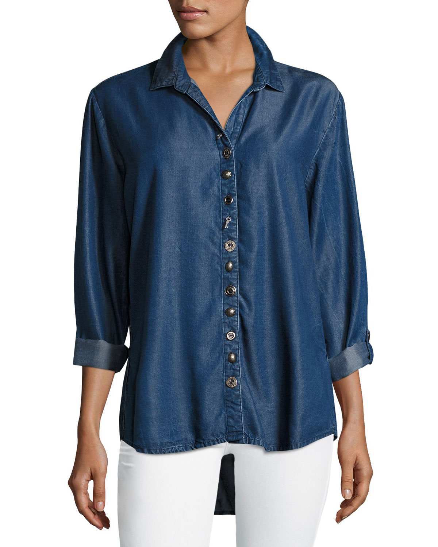 Buddha Shirt Neon Mixed Neiman Endless Denim Plus Size Buttons W BUwqwdZ
