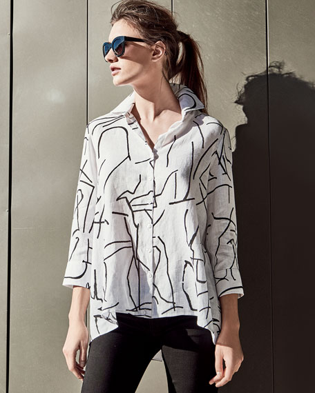 3/4-Sleeve Graffiti-Print Trapeze Top, White/Black