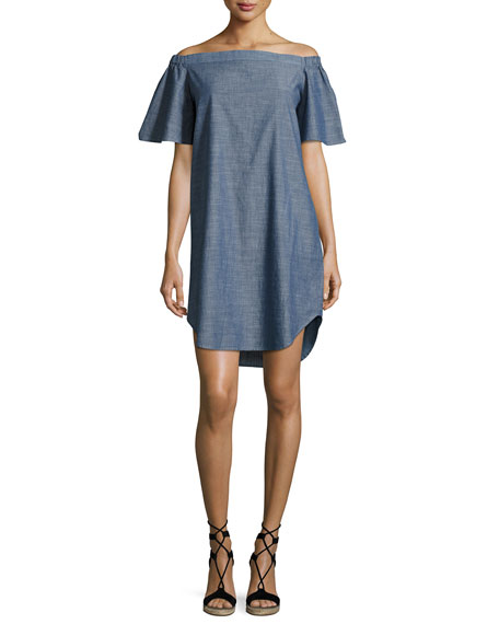 Finley Louella Off-the-Shoulder Chambray Dress, Blue