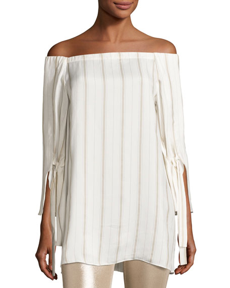 Halston Heritage Striped Tie-Sleeve Off-the-Shoulder Top, Tan