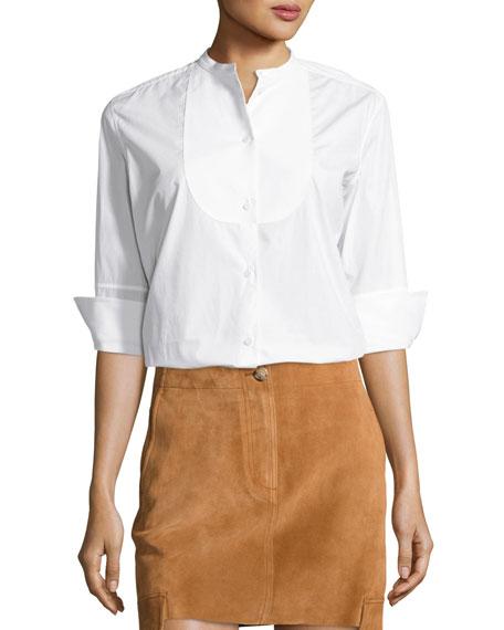 Helmut Lang 3/4-Sleeve Cotton Poplin Tuxedo Shirt, White