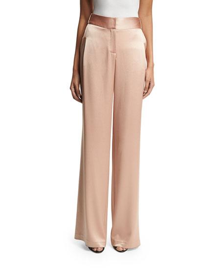 Halston Heritage Flowy Wide-Leg Satin Pants, Light Beige