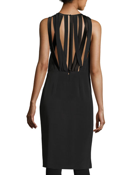 Sleeveless Jewel-Neck Tunic w/ Strappy Back, Black