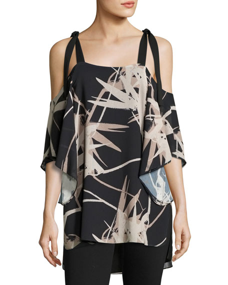 Halston Heritage Short Flutter-Sleeve Cold-Shoulder Printed Top,