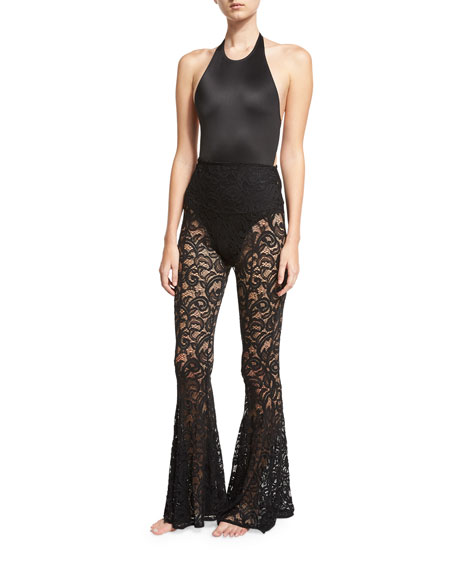 Fishtail Lace Coverup Pants, Black
