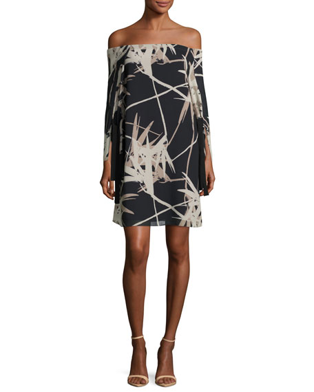 Halston Heritage Long-Sleeve Off-the-Shoulder Printed Dress, Multi
