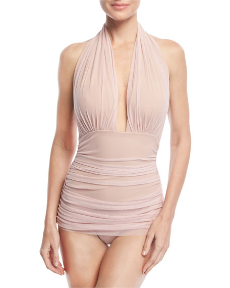 Norma Kamali Bill Ruched Halter Maillot Swimsuit, Pink
