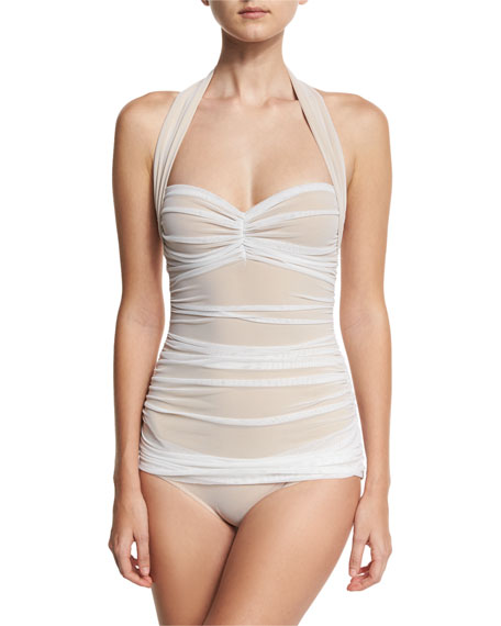 Bill Mio Halter One-Piece Swimsuit, White