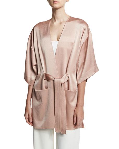 Halston Heritage Satin Kimono Wrap Jacket w/ Topstitched
