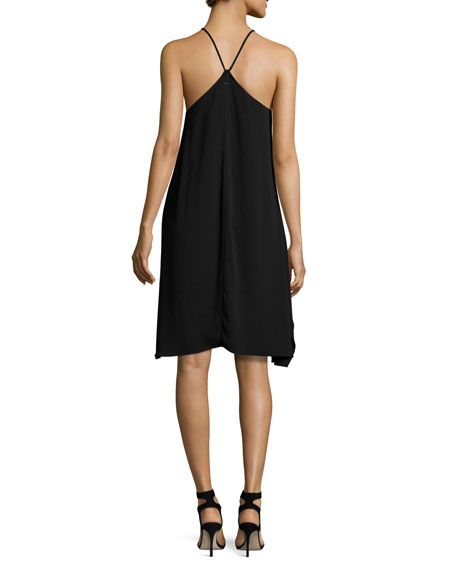 Sleeveless High-Neck Flowy Cami Dress, Black