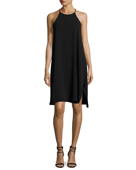 Sleeveless High-Neck Flowy Cami Dress, Black